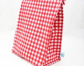 Eco Insulated Lunch Bag in a Classic Red Gingham