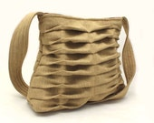 Everyday Handbag Purse Hobo Style in Tan Chevron Pleats