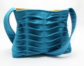 Handbag Purse Chevron Pleated in Teal Blue and Yellow