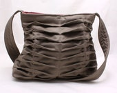 Chevron Pleated Handbag Purse in Gray Grey Everyday Bag