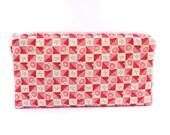 Zipper Pouch in Pink Floral Print Cotton Bag Small Handbag