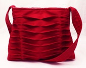 Handbag Handmade Purse Pleated in Bright Red Chevron Pleats