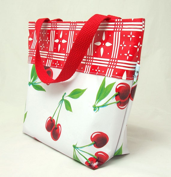 Insulated Lunch Bag With Handles Cherry With Red Print