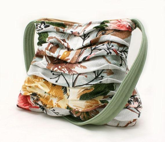 RESERVED - Handbag in Pleated Vintage Floral Bark Cloth