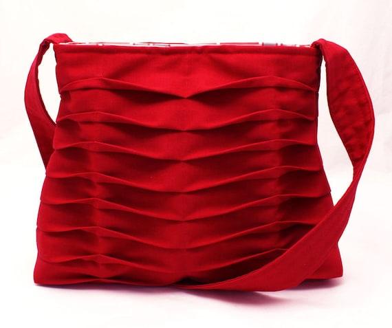 Handbag Handmade Purse Pleated in Bright Red Chevron Pleats