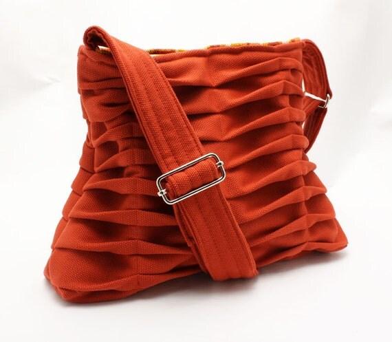 Chevron Pleated Handbag Purse in Coral Rust Cross Body