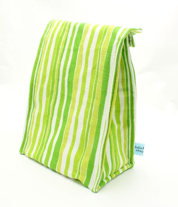 Eco Insulated Lunch Bag in a Green and Yellow Stripe