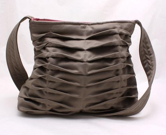 Chevron Pleated Handbag Purse in Gray Grey Everyday Bag