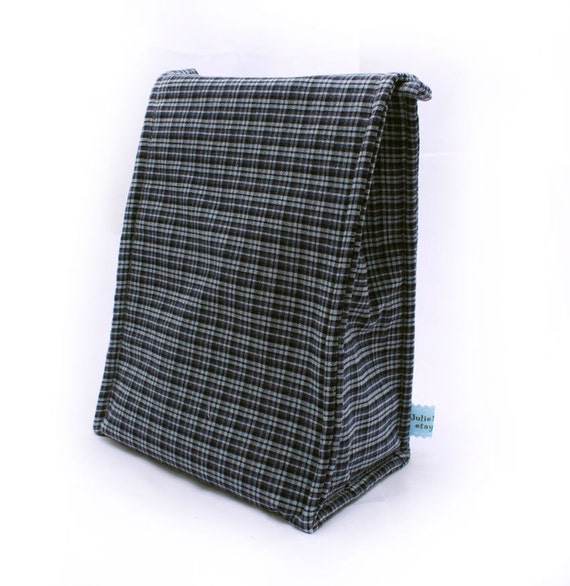 Insulated Lunch Bag Back to School Navy Plaid