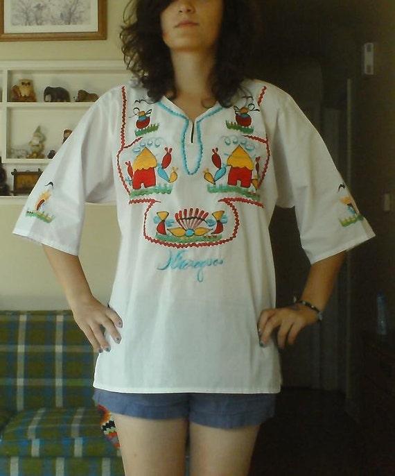SALE Vintage Embroidered Nicaragua Tunic