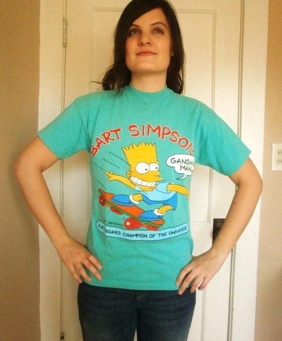 Vintage 1990 Original Bart Simpson Skateboard T-shirt
