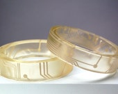 Geek Girl Bangle Bracelets - Up-cycled Golden Printed Circuit Boards in Resin (Set of two)
