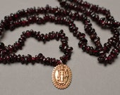 Garnet Pebble Necklace with Bronze Lakshmi Pendant
