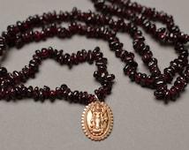 Garnet Pebble Necklace with Bronze Lakshmi Pendant