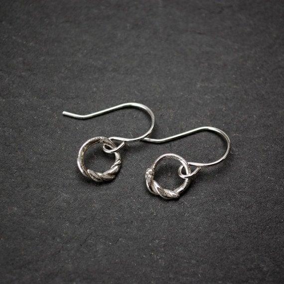 Handmade tiny silver twist knot earrings