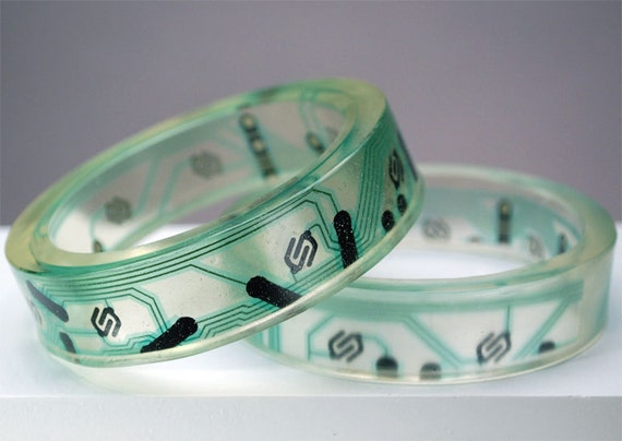 Geek Girl Bangle Bracelets - Up-cycled Green Printed Circuit Boards in Resin (Set of two)