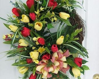 Custom order large Spring wreath,  Mix the colors,  floral wreath, Door wreath, Tulip wreath, gingham