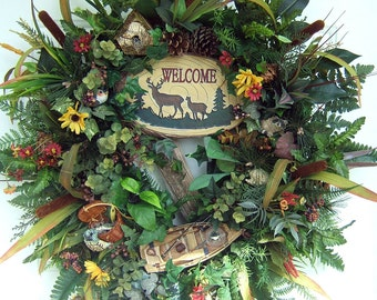 Custom Order lake house wreath, Personalized, Customized, many styles, cabin wreath,  rustic wreath,  woodsy, country wreath, rustic