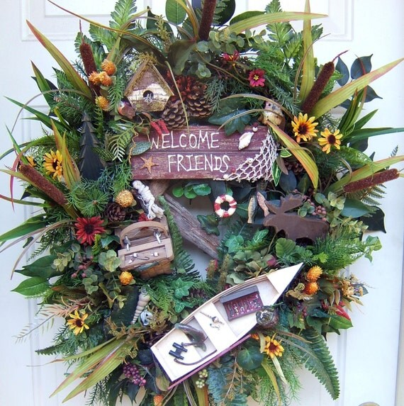 Summer, Lake house, cabin door wreath, rustic, fishing, floral wreath