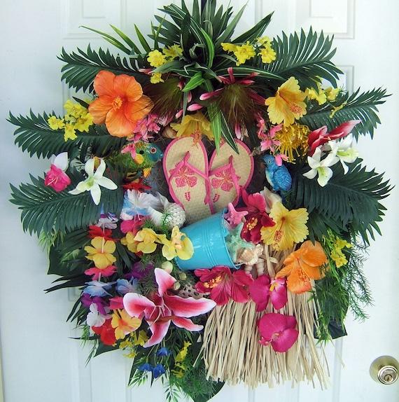 Sale, Tropical floral wreath, Luau wreath, Door wreath,  Summer wreath, pool decor, handmade wreath