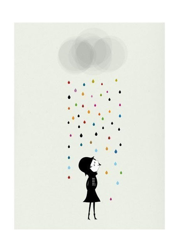 Mademoiselle under the rain print