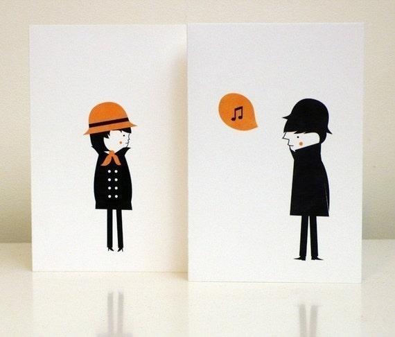 lui et elle cards (set of 2)