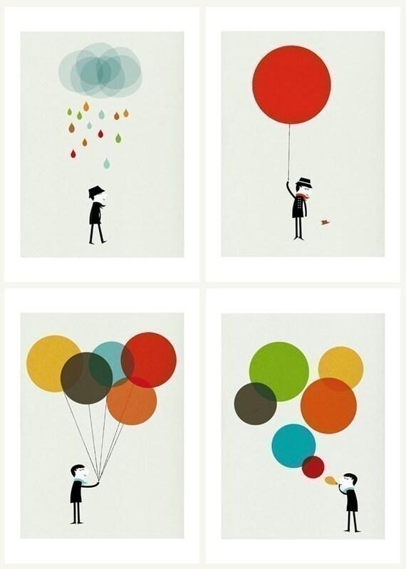 Monsieur set of four prints