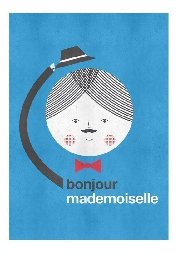 bonjour mademoiselle - color print