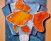 Goldfish Night light - Goldfish Nightlight - Fish Night light - Stained Glass Night light