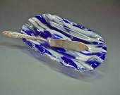Fused Glass Butter Dish - Butter Dish with Beaded Knife or Viintage Knife