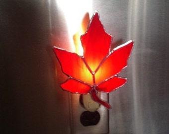 Maple Leaf Night light - Stained Glass Night light - Maple Leaf Nightlight