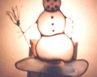 Snowman Night light - Snowman Nightlight - Stained Glass Night light - Snow