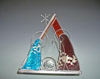 Nativity - Stained Glass Nativity - Christmas Decoration - Nativity Decoration - Stained Glass Decoration