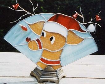 Rudolph Night light - Rudolph Table Lite -  Stained Glass Night light - Christmas Nightlight