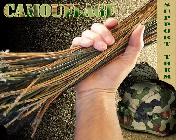 Dyed Pine Needles for Basket Weaving or Gourd Crafts - Camouflage
