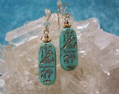 CLEOPATRA'S TREASURE - Hieroglyphic Earrings in Glass, Swarovski Crystal, and 14K Gold-Filled