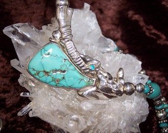 LAVA FLOW - OOAK Necklace in Turquoise, Lab. Opal, and Sterling Silver