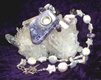 TIFFANYs STARRY NIGHT - OOAK Necklace in Tiffany Stone, Fresh Water Pearl, and Sterling Silver