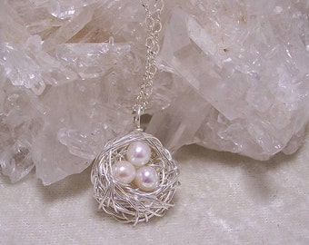 PEARL EGGS - Nest Pendant in Fresh Water Pearl and Sterling Silver