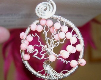 WindSwept Coral Tree of Life Pendant in Sterling Silver