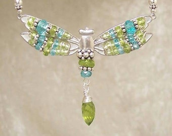 FAIRYs POOL II - Dragonfly Necklace in Peridot, Apatite, and  Sterling Silver