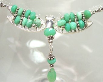 CREME de MENTHE DRAGONFLY - Necklace in Chrysoprase, Fine Silver, and Sterling Silver