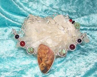 WOW - Reversible OOAK Necklace in Morrisonite Jasper, Black Agate, Black Onyx, Carnelian, Turquoise, and Sterling Silver