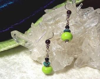 CATERPILLAR - OOAK Earrings in Lampwork Glass, Black Onyx, Turquoise, Garnet, and Sterling Silver