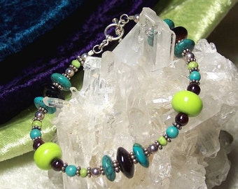 CATERPILLAR - OOAK Bracelet in Lampwork Glass, Black Onyx, Turquoise, Gaspeite, Garnet, and Sterling Silver