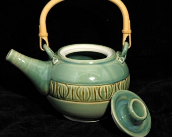 Green Carved Teapot and Tea Bowls