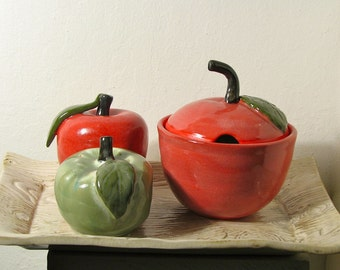 Apple Trio- Salt and Pepper Shakers With Sugar Bowl (made to order)