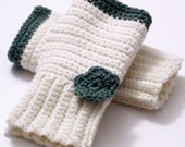 HALF PRICE SALE Crocheted fingerless gloves in off white and sage green with flower applique woman size MEDIUM