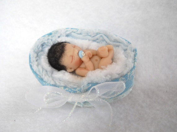 SALE of the DAY Itty Bitty Dark Haired Baby Boy OOAK Sculpt Sculpted Clay Art Doll Miniature