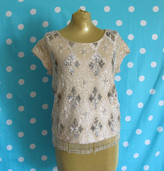 SALE 50s Silver Cream Sequin Sweater Top with Beaded Fringed Hem Size M to L